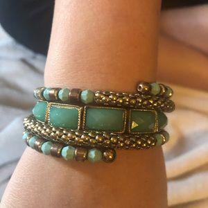 Gold/green wrap bracelet